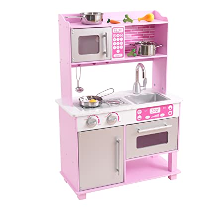 KidKraft Girlu0027s Pink Toddler Kitchen With Accessories