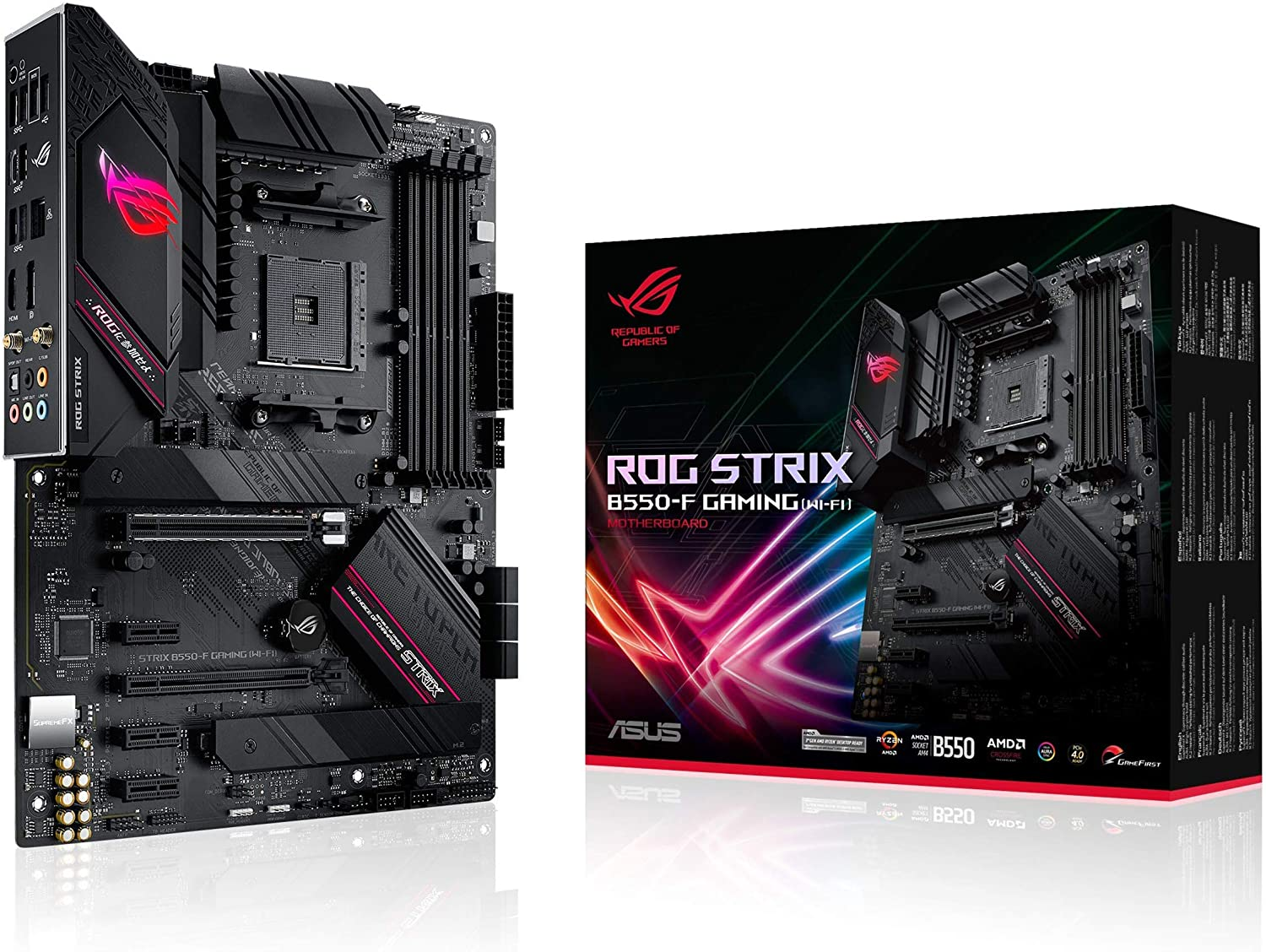 ASUS ROG Strix B550-F Gaming (WiFi 6) AMD AM4 (3rd Gen Ryzen ATX Gaming Motherboard (PCIe 4.0, 2.5Gb LAN, BIOS Flashback, HDMI 2.1, Addressable Gen 2 RGB Header and Aura Sync)