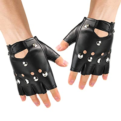 Skeleteen Gothic Fingerless Biker Gloves - 80s Style Black Leather Punk Biker Gloves with Studs for Men Women and Kids: Clothing