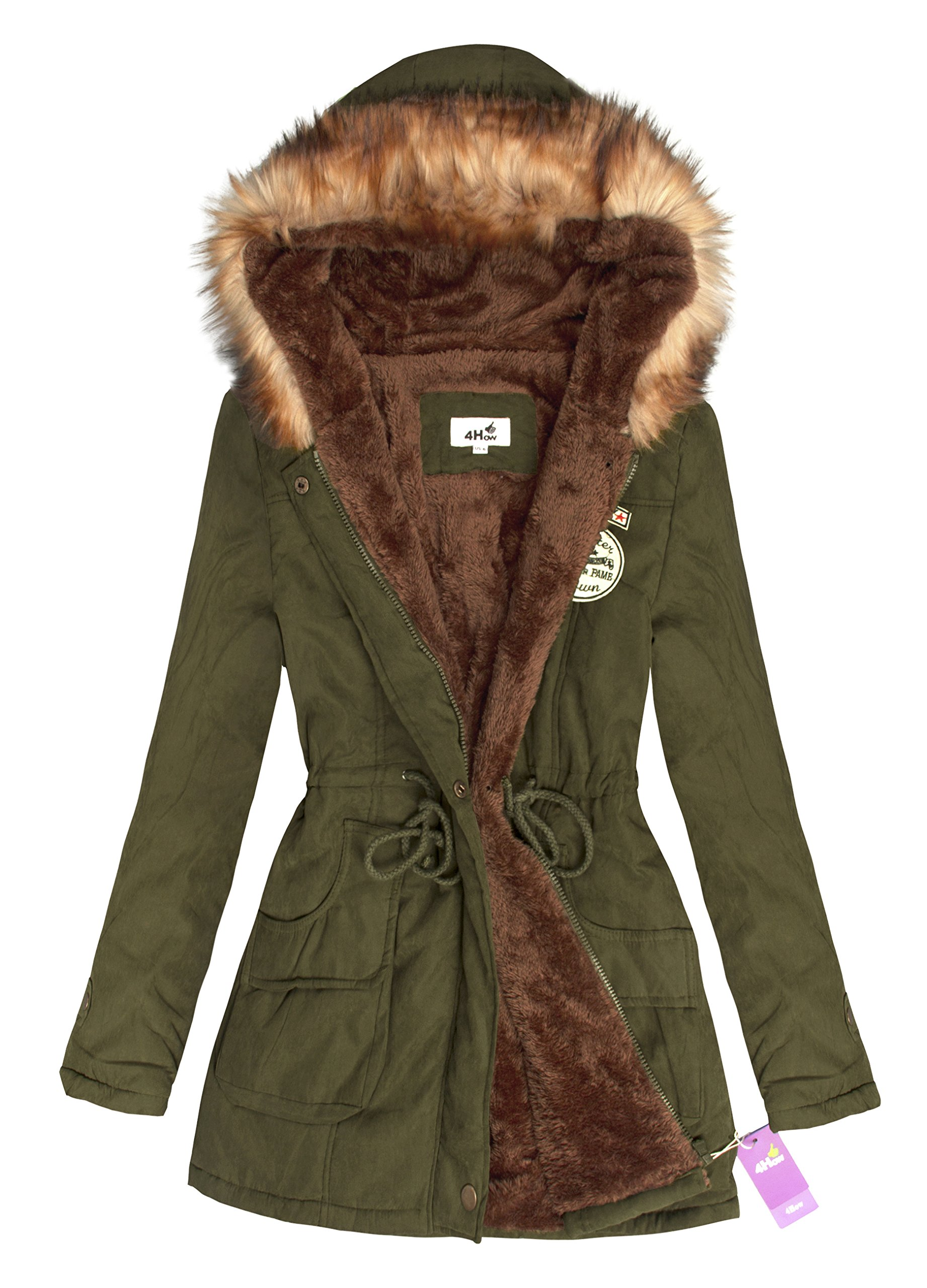 469a880cba Galleon - 4HOW Womens Casual Jacket With Hoodie Warm Coat Army Green US Size  8