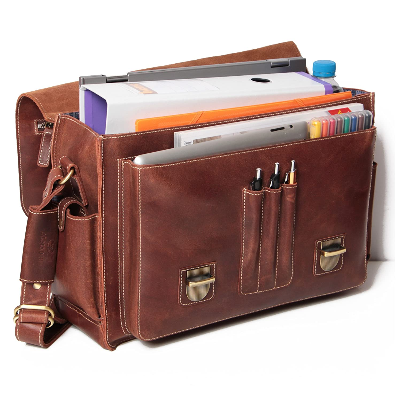 5300b21a4f Fournitures scolaires ALMADIH sac en cuir *WILL* Cartable bandoulière  Marron Vintage serviette sac porté épaule ...