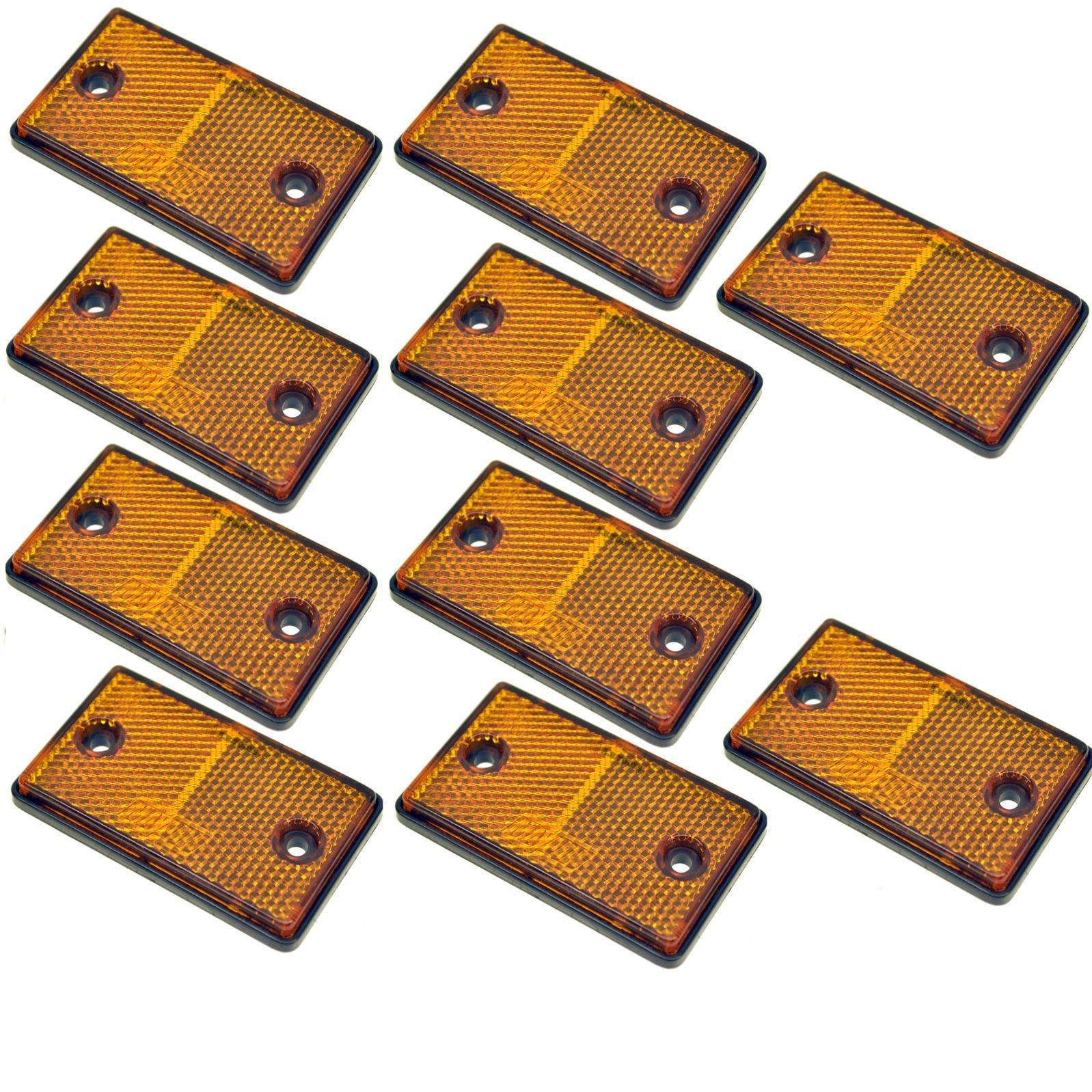Amber Rectangular Side Reflector Pack of 10 Trailer Fence Gate Post TR068