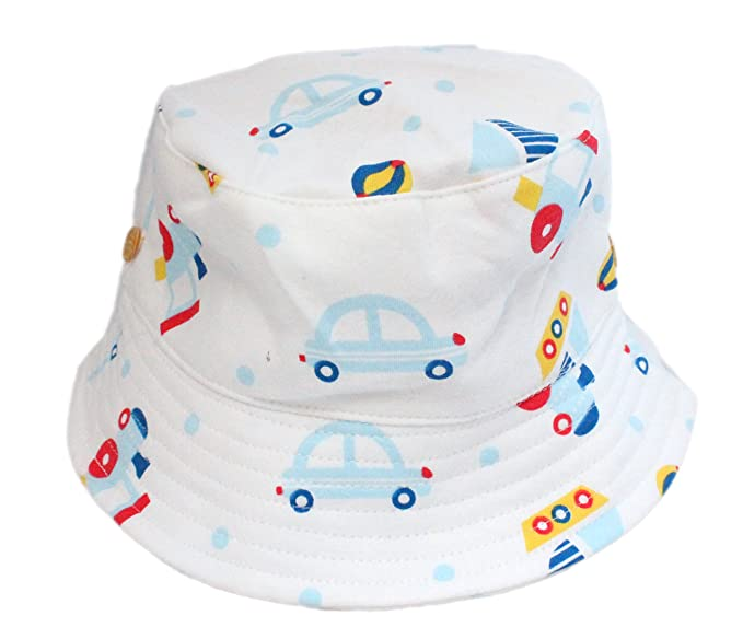 c6b31e5f737 Boys Boy Soft Cotton White with Cars Tractors Summer Sun Hat with Chin Strap   Amazon.co.uk  Clothing