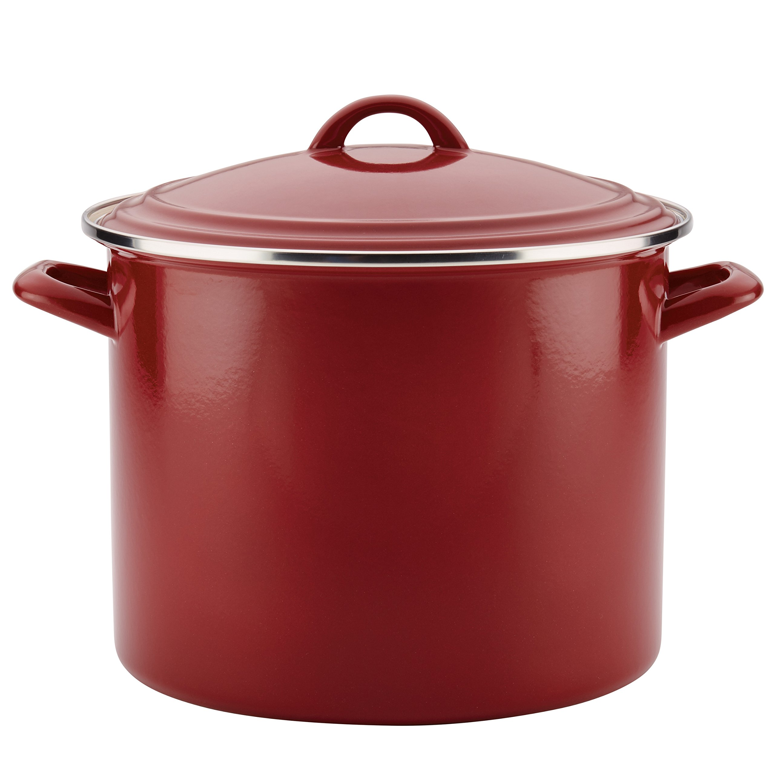 Ayesha Curry Enamel on Steel Stockpot, 12-Quart, Sienna Red