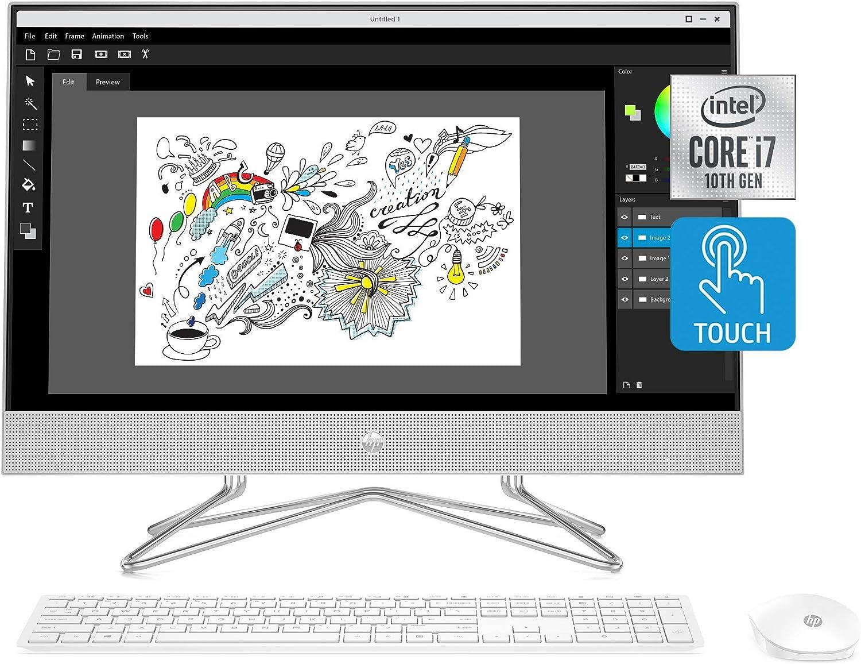 HP 24-inch All-in-One Touchscreen Desktop Computer, Intel Core i7-1065G7 Processor, 16 GB RAM, 512 GB SSD, Windows 10 Home (24-dp0180, Silver) (Renewed)