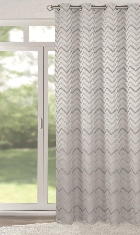Vorhang Blickdicht Lichtdurchlässig jacquard übergardine zickzack muster 140x245 cm ösen vorhang gardine