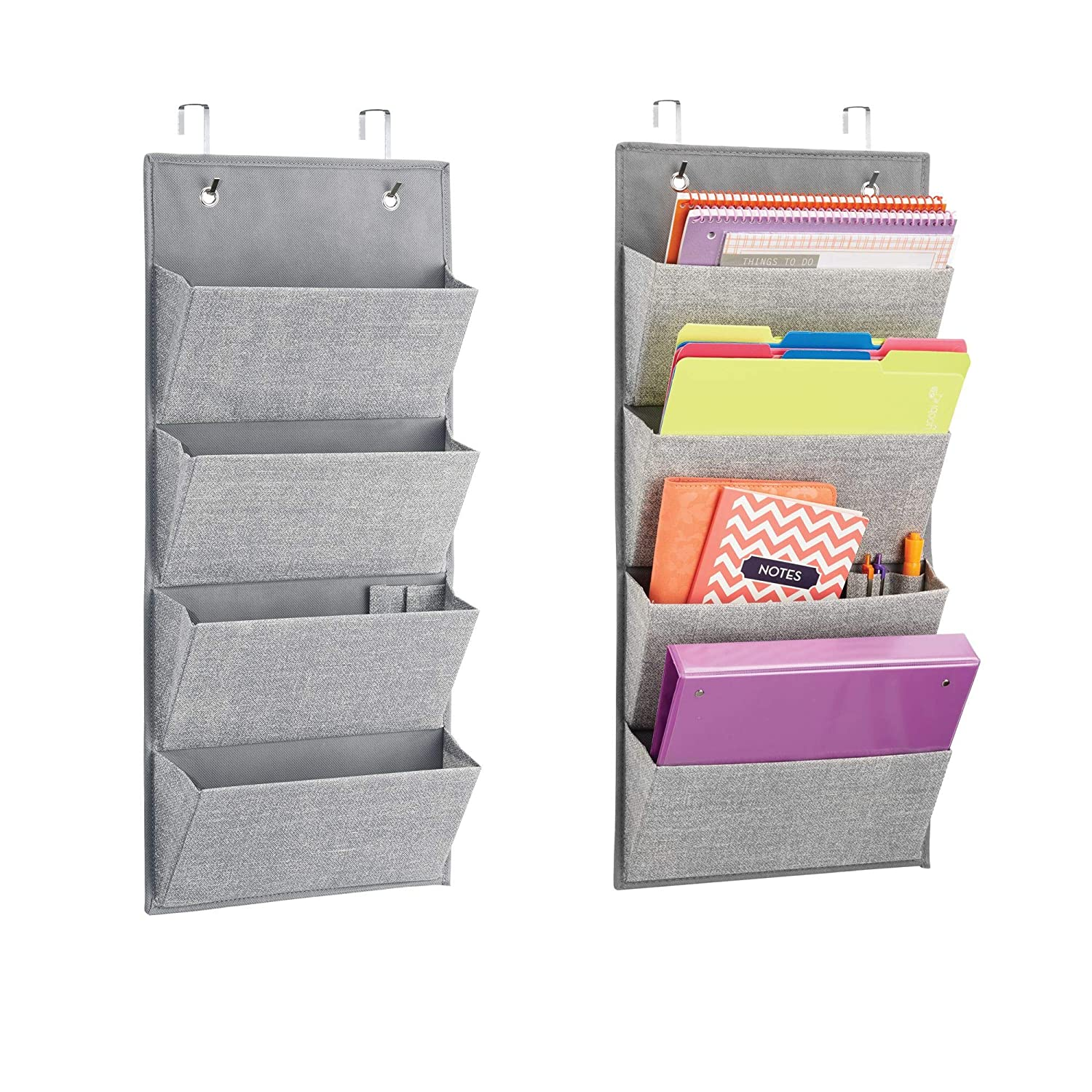 mDesign Over The Cubical Wall Mounting Hanging Fabric Office Supplies Storage Organizer for Notebooks, Planners, File Folders for Home Office Work- Pack of 2, 4 Pockets, Gray MetroDecor 6180MDO