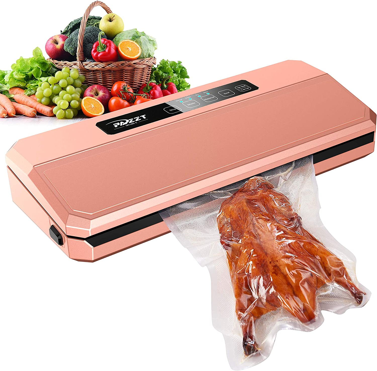 PAZZT Vacuum Sealer Machine,Food Sealers Vacuum Packing Machine,Hidden Power Cord Design,with Starter Kit