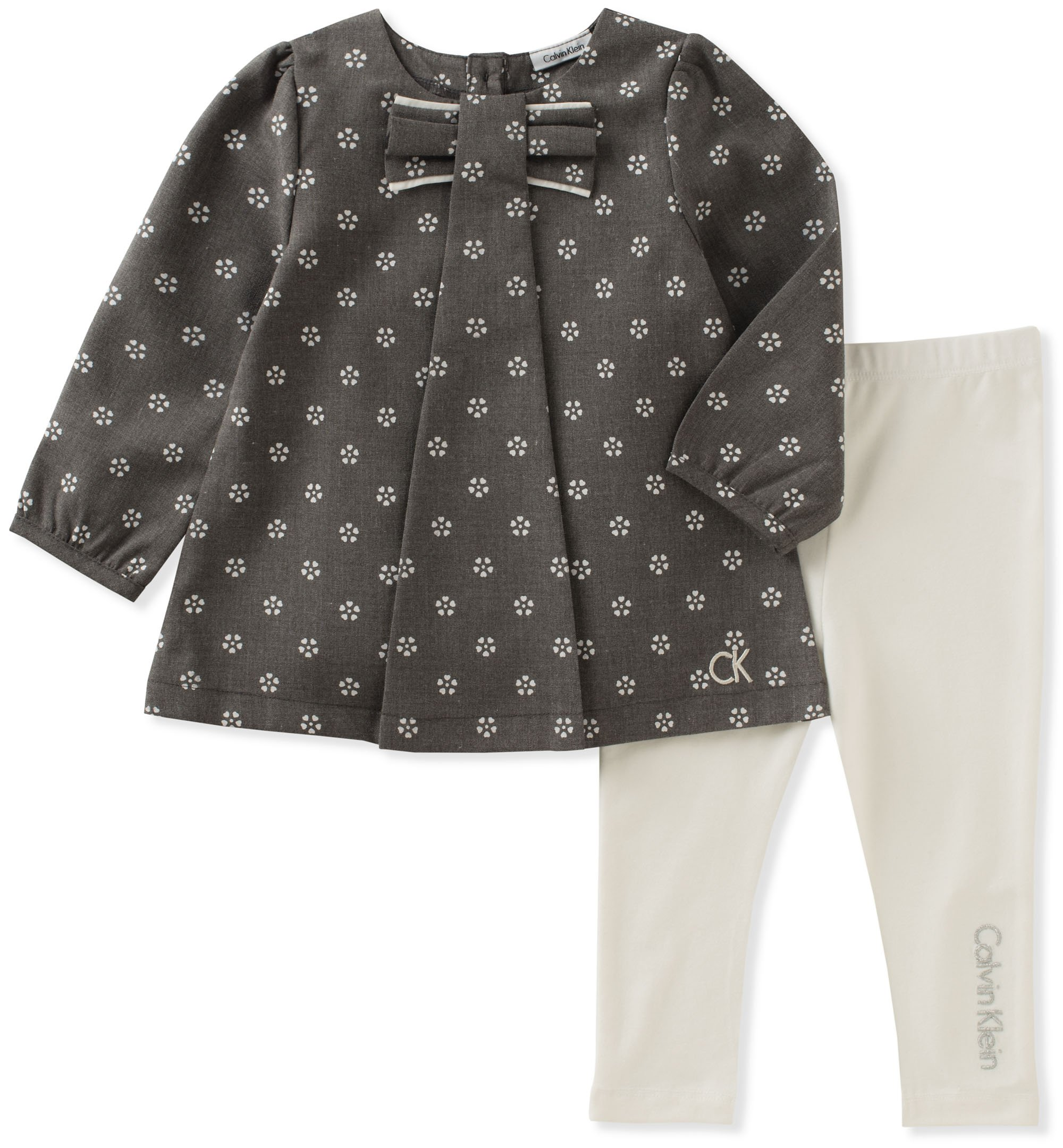 Calvin Klein Baby Girls' Tunic Legging Set, Grey/Vanilla, 3-6 Months