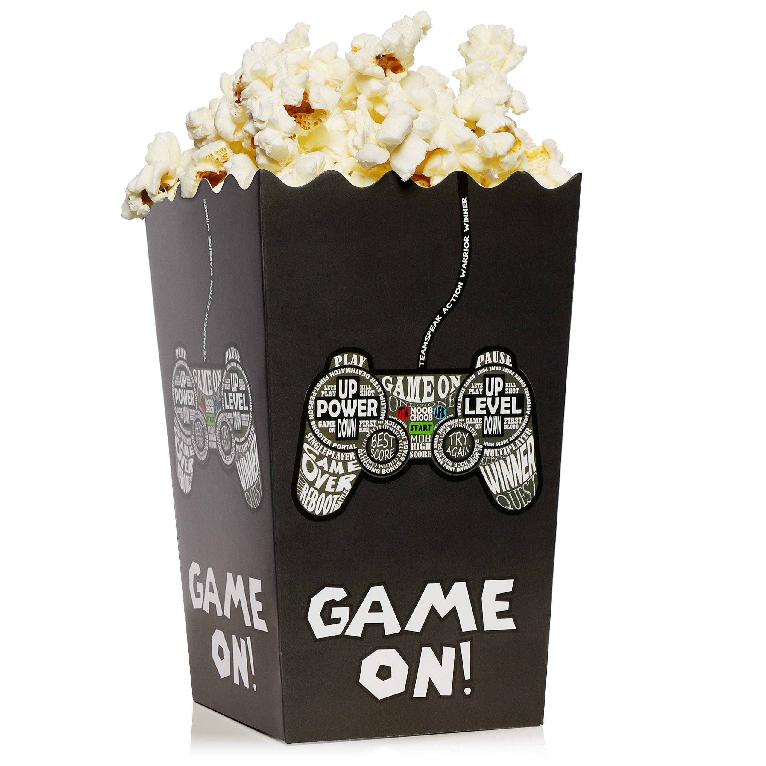 100-Pack Video Game Popcorn Boxes - 46oz Open Top Popcorn Favor Containers, Video Game Party Supplies, Movie Night, Birthday, Baby Shower, Gaming Parties, Game On Print, 3.75 x 3.75 x 7.8 Inches