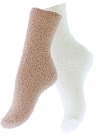 Pack de 4 pares de calcetines para dormir suaves en varios color con y sin rayas: Amazon.es: Ropa y accesorios
