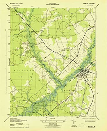 Hill Topographic Map.Amazon Com Yellowmaps Snow Hill Md Topo Map 1 31680 Scale 7 5 X