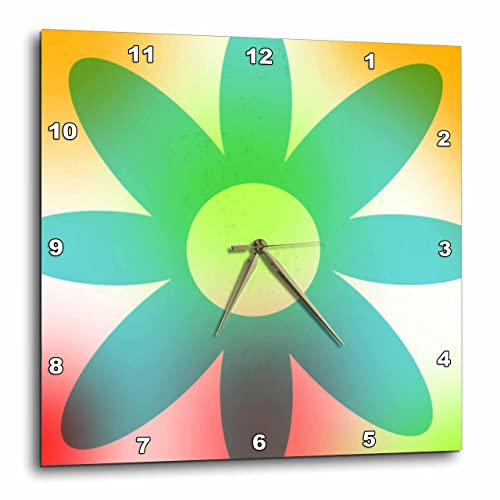 3dRose DPP_52835_1 Pastel Teal Flower Whimsical Floral Art Wall Clock, 10 by 10-Inch