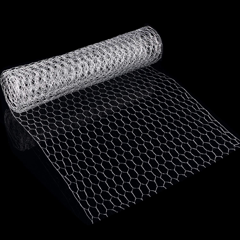 SATINIOR 2 Sheets Chicken Wire Net for Craft Work, Galvanized Hexagonal Wire Mesh (13.7 x 40 Inches, Sliver)