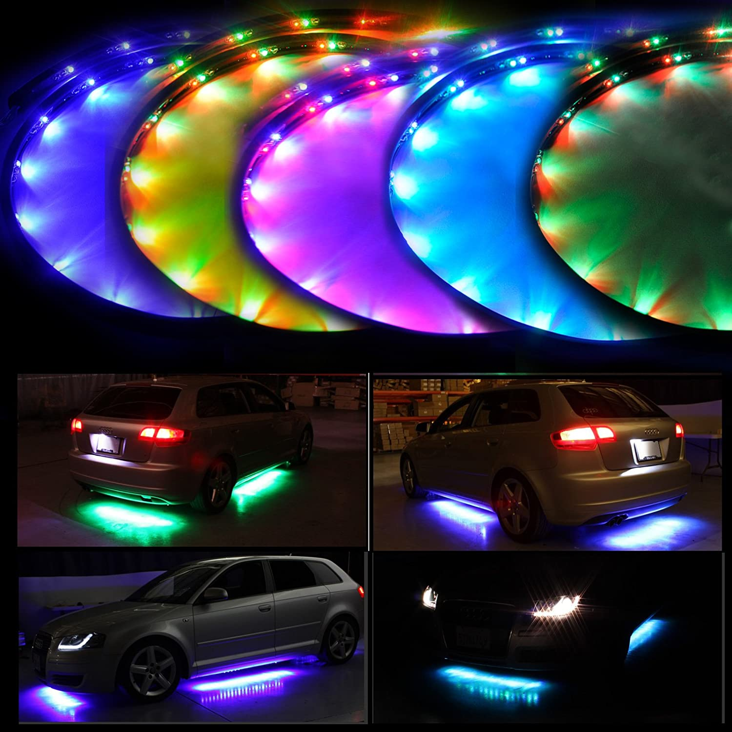 Lychee 7 Color LED Under Car Glow Underbody System Neon Lights Kit w/Sound Active Function and Wireless Remote Control (48' x 2 & 36' x 2)