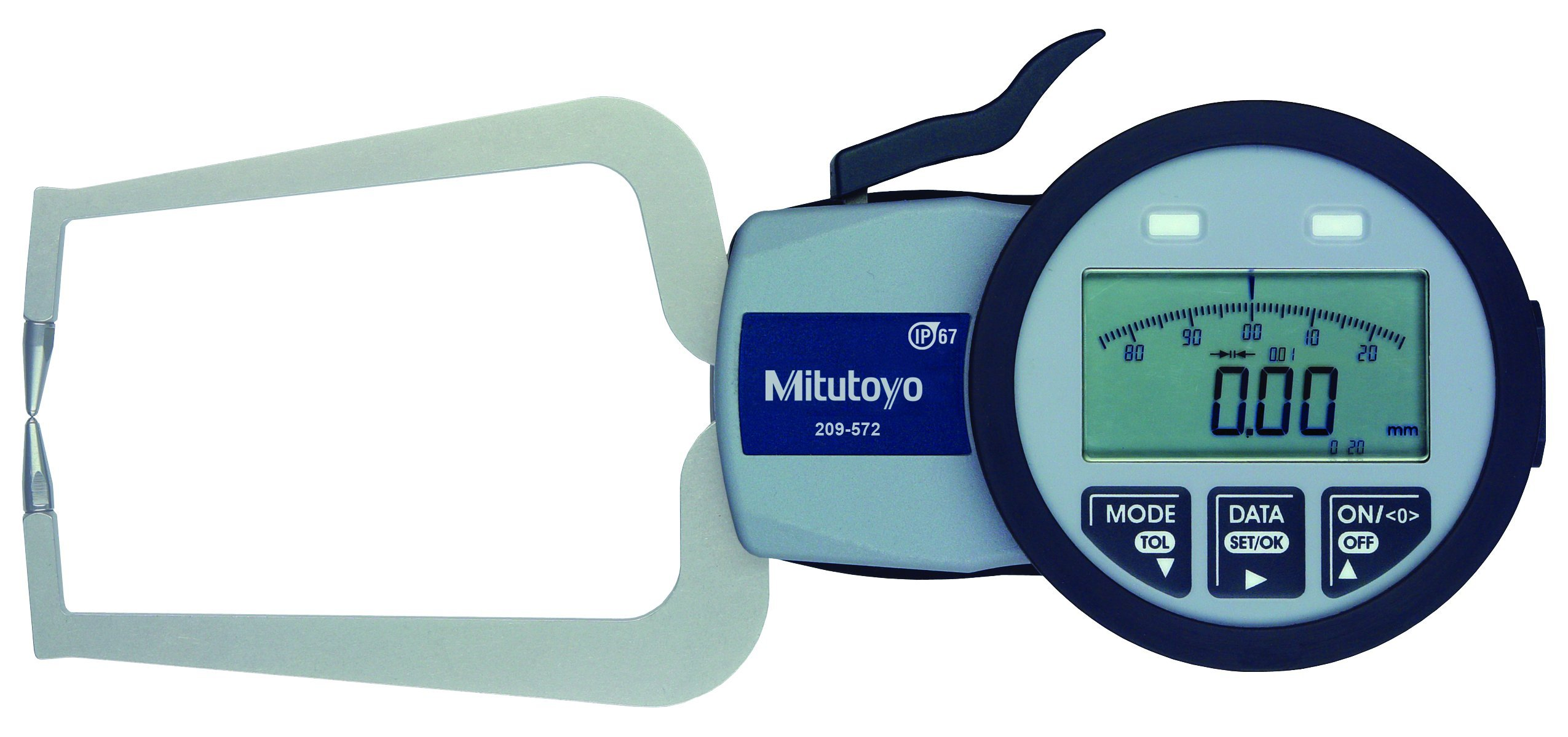 Mitutoyo 209-572 Caliper Gauge, Inch/Metric, Pointed Jaw, 0-0.78'' Range, +/-0.001'' Accuracy, 0.0005'' Resolution, Meets IP63/IP67 Specifications