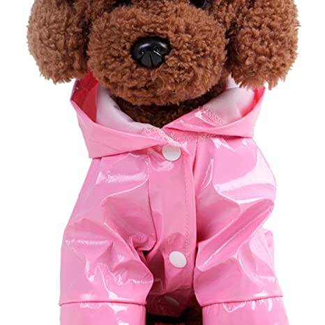 INTERNET Ropa para Perros, Perro Impermeable Impermeable con Capucha para Mascotas (S, Rosado