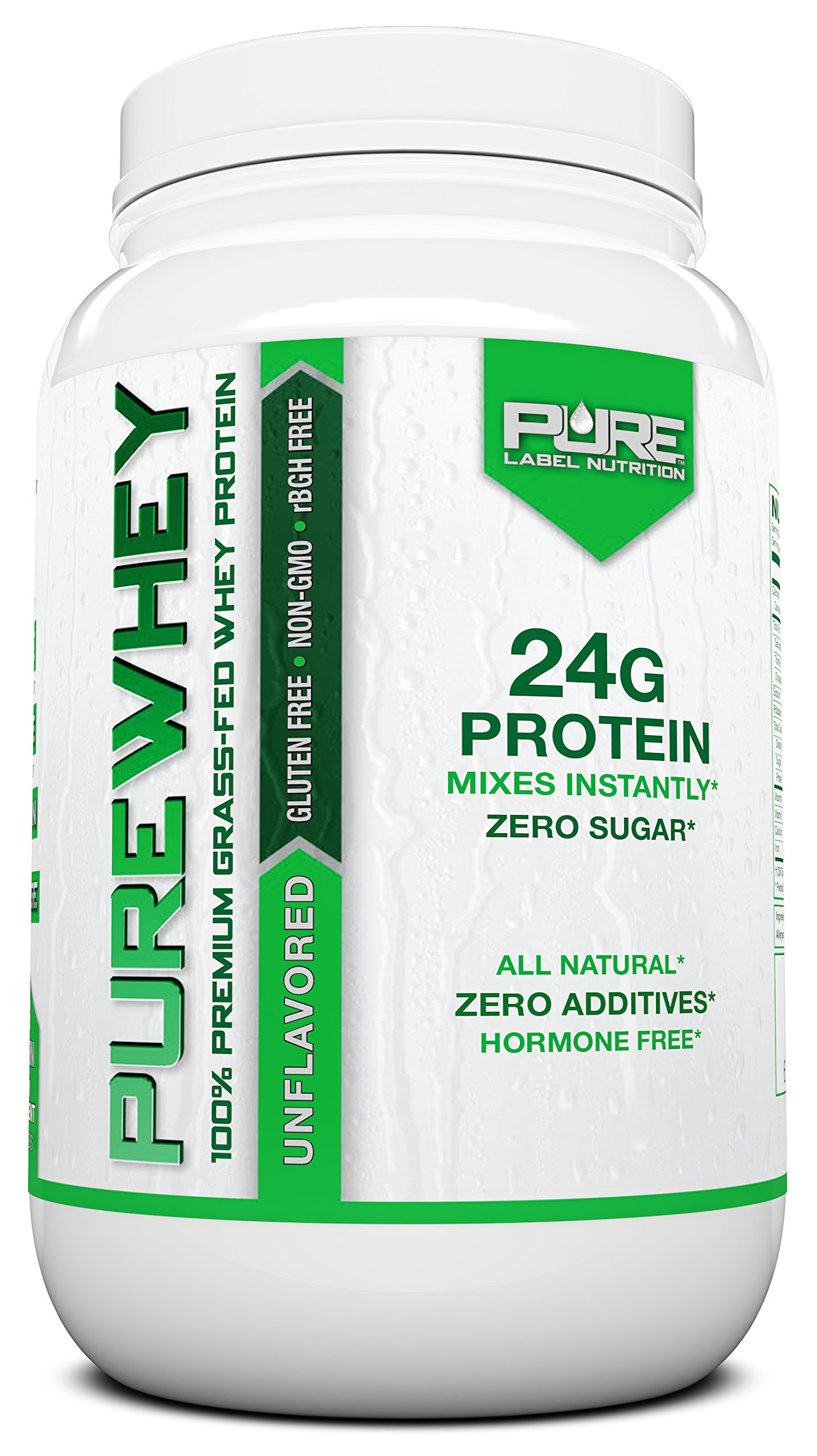 Grass Fed Whey Protein   2lb + Unflavored Whey from Grass Fed California Cows   100% Natural Whey w/ No Sweeteners or Added Sugars   rBHG Free + GMO-Free + Gluten Free + Preservative Free   PURE Whey
