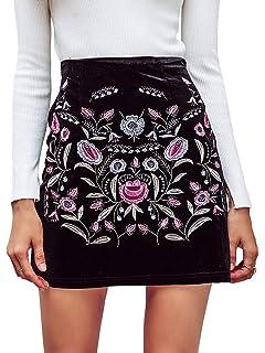 f18716fdc BerryGo Women's High Waist Embroidered Mini Skirt Boho Floral Pencil Skirt