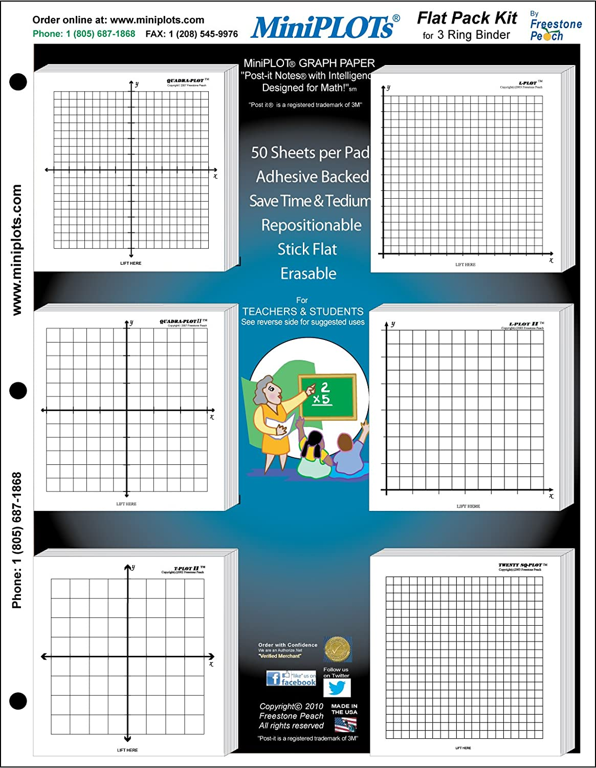 Amazon.com : MiniPLOT Graph Paper Kit: Six XY axis coordinate grid ...
