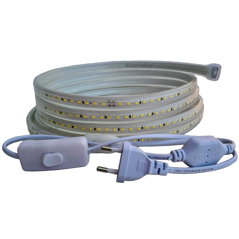 Ahorraluz Tira 220v 2835 120 Led//m Alta LUMINOSIDAD Blanco Neutro, 2,5M Impermeable Fr/ío C/álido Waterproof IP67 Strip con Interruptor 27.5 W