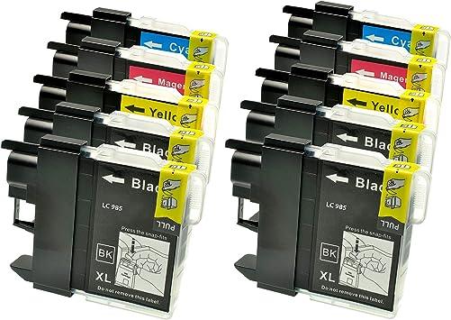 10 Tintenpatronen Druckerpatronen Für Brother Dcp J 125 Lc 985 Lc985 4xbk Je 22ml 2x C 2x Y 2x M Je 15ml Kompatibel Bürobedarf Schreibwaren