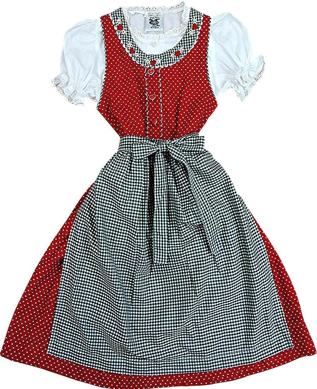Herziges Kinderdirndl SANDRA tannengrün od. rot, 3tlg. Komplett-Set
