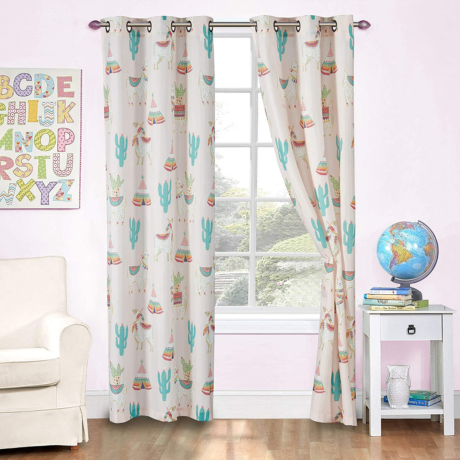 Kids Zone Home Linen 2 Panel Curtain Set with Grommet for Boys Girls Teens Bedroom Multicolor Set (Llama Cactus Tee Pee Multi Color)
