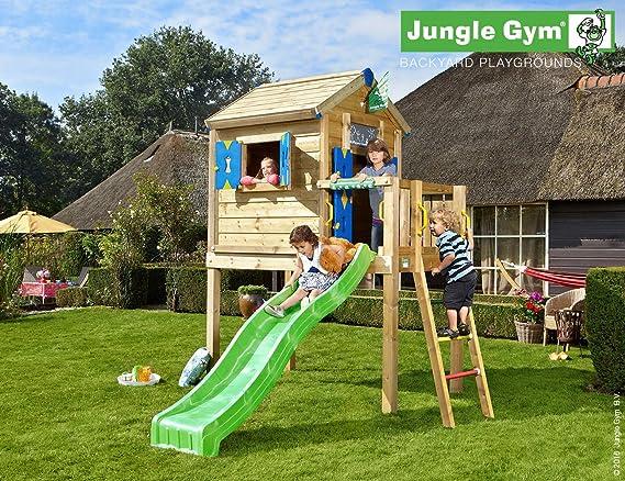 Jungle Gym Jungle Playhouse L Amarillo Casitas Infantiles de Madera para Jardin con Tobogan: Amazon.es: Juguetes y juegos