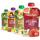 Happy Baby Organics Clearly Crafted Stage 2 Baby Food, Variety Pack, Pear-Squash-Blackberries, Apple-Kale-Avocado, Apple-Guav