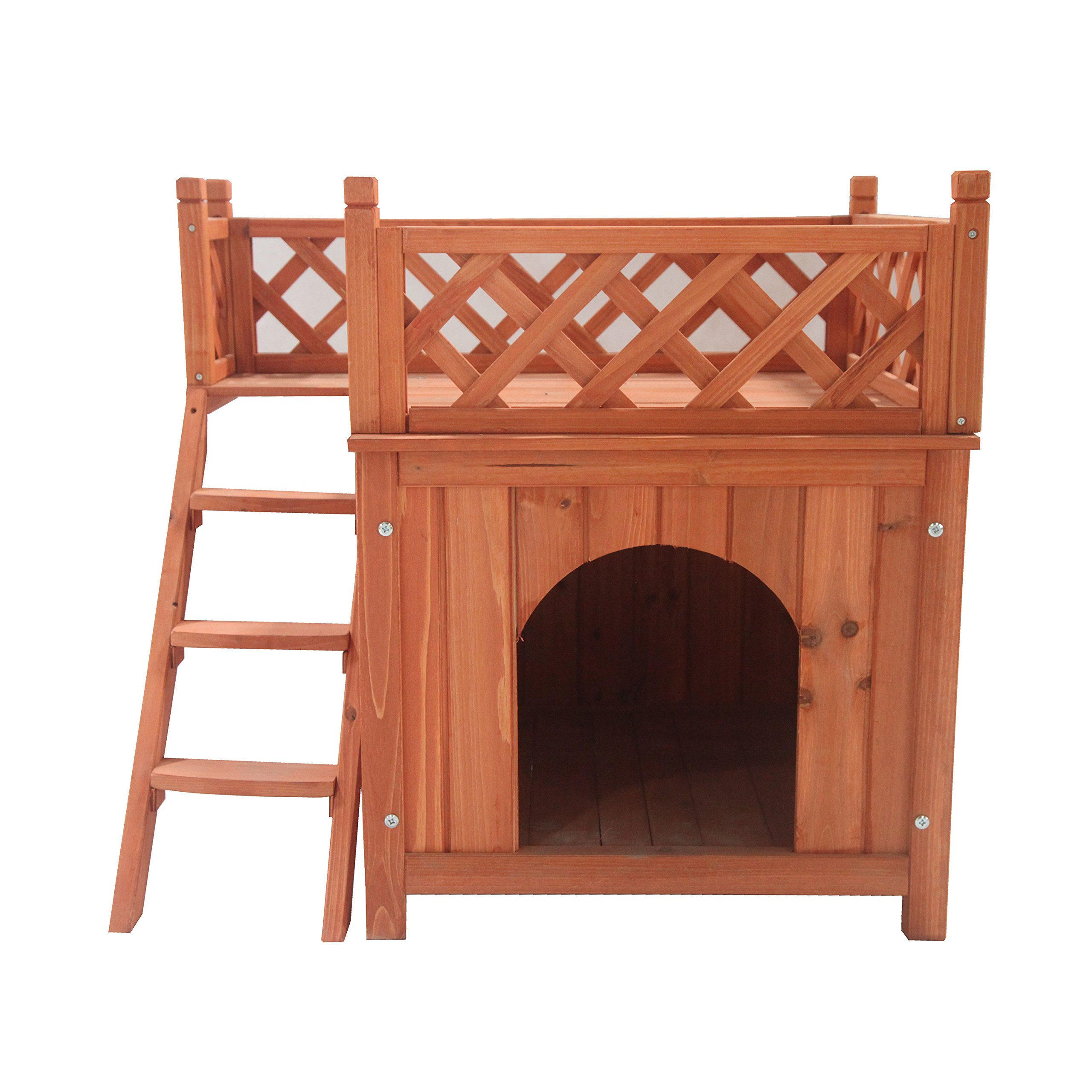 ALEKO DH28X20X25WD Wooden Cedar Pet Home for Small Pets Dogs Cats Side Steps and Balcony Kennel Lounger 28 x 20 x 25 Inches
