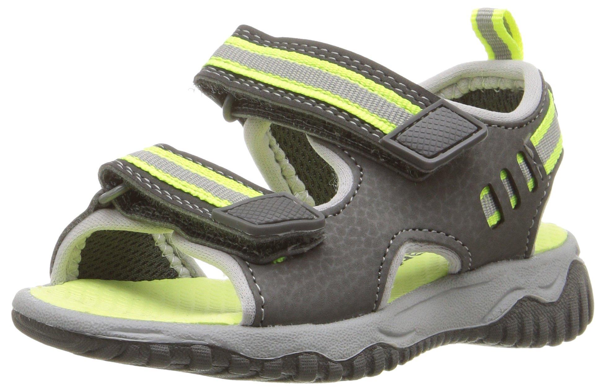 Carter's Oracio Boy's Sandal, Grey/Yellow, 10 M US Toddler