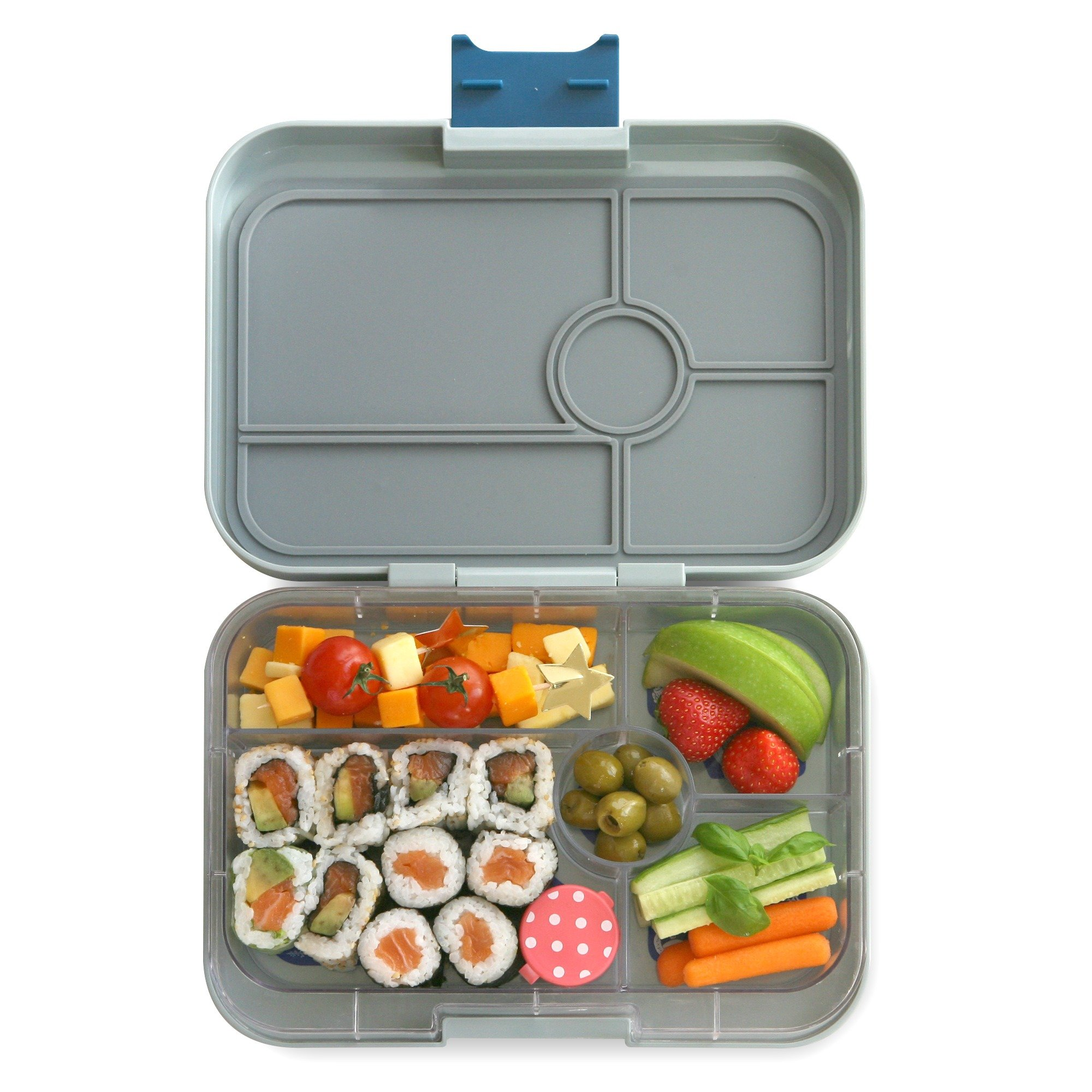 YUMBOX TAPAS Larger Size (Flat Iron Gray) Leakproof Bento lunch box with 5 compartment non-illustrated food tray or Adults, Teens & Pre-teens