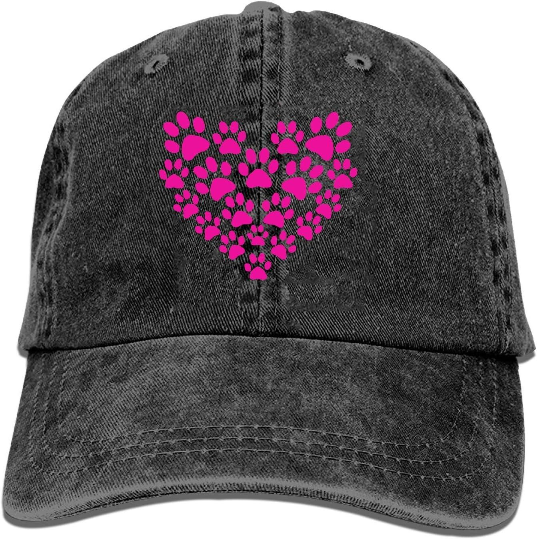 Onled gorra de béisbol para camionero, diseño de pata de corazón de animal amante lindo gato perro mascota pata ajustable juvenil vaquero para hombre gorras de golf sombreros