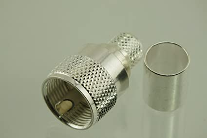 W5SWL Brand Premium Series Coax Connector Silver UHF PL-259 PL259 Male Crimp for RG