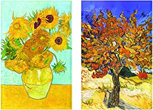 "Buttonsmith VanGogh Sunflowers Magnet - Set of 2 1.75"" x 2.75"" Rectangle Magnets - Made in the USA"