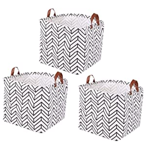 Kingrol 3 Pack Waterproof Storage Baskets with Handles, 13 x 13 x 13 Inch Storage Bins for Home, Office, Nursery, Laundry