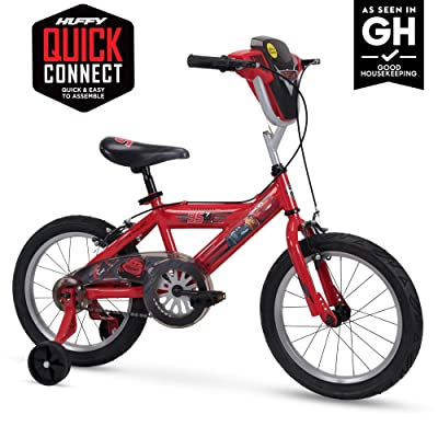 "Huffy Disney Cars Kid Bike Quick Connect Assembly, Handlebar Plaque w/ Sounds & Training Wheels, 16"" Red: Sports & Outdoors"
