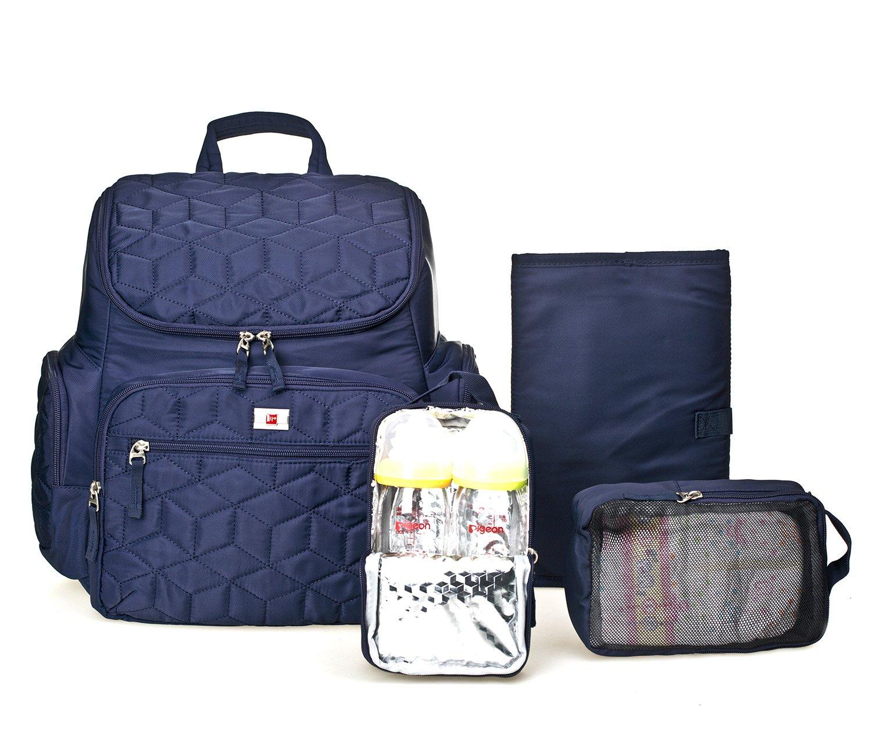 Großes Fassungsvermögen Wickeltasche, wasserdichtes Baby Wickeltasche für Reisen, multifunktionaler Windel Rucksack mit Kinderwagen Haken für Mom, Dad DECOOL