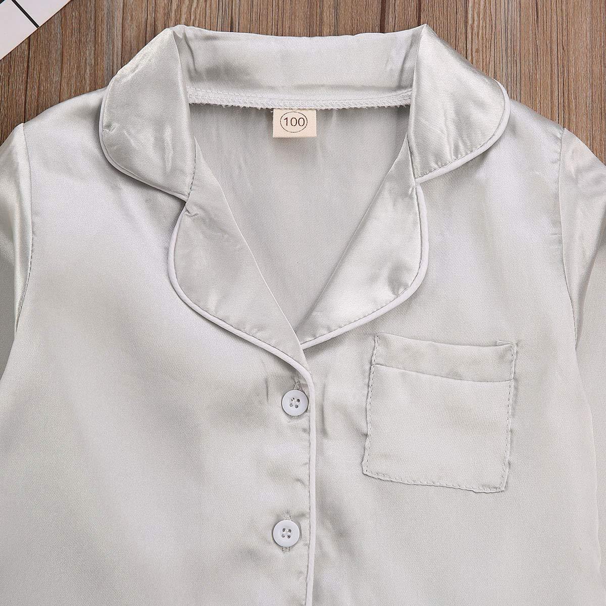 Toddler Baby Kids Silk Satin Pajamas Long Sleeve Button-Down Top Pant Sleepwear Nightwear Girls Boys Pjs