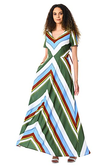 af3b3f0317f5 eShakti Women's Chevron stripe print crepe maxi dress UK Size 04/Regular  height White/