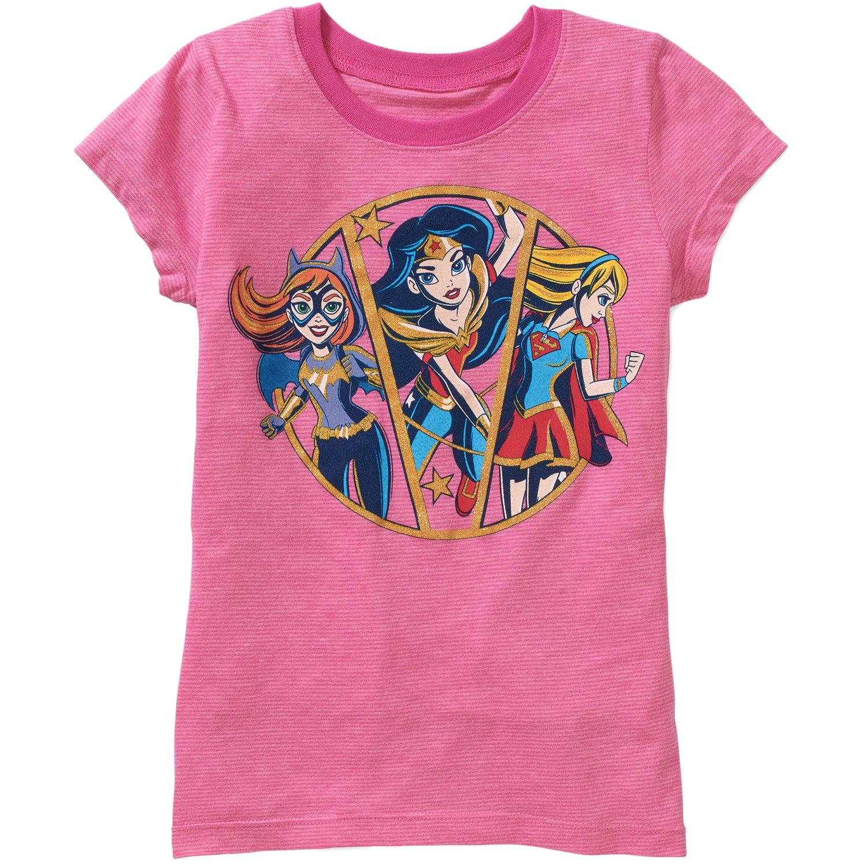 Merchandise, Inc Girls DC Comics Strong Ladies Short Sleeve Crew Neck Graphic T-Shirt,Pink,Medium