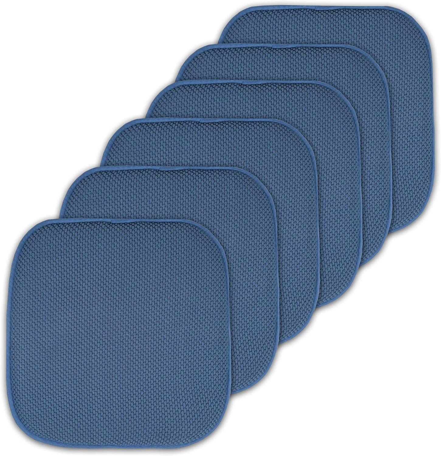 Sweet Home Collection Cushion Memory Foam Chair Pads Honeycomb Nonslip Back Seat Cover 16 x 16 6 Pack Blue
