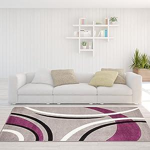 Carpet City Teppich Modern Designer Wohnzimmer Cohiba Bogen Grau Lila Creme  Schwarz 120x170 Cm