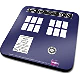 Doctor Who TARDIS Official Drinks Coaster Protective Melamine Cover with Cork Base, Multi-Colour, 10 x 10 cm