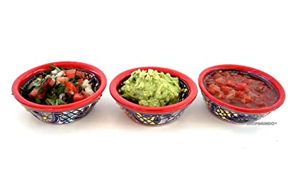 SET OF 3 Colorful Mexican Salsa Bowls - Hand Painted From Mexico. GREAT TABLE DECORATION