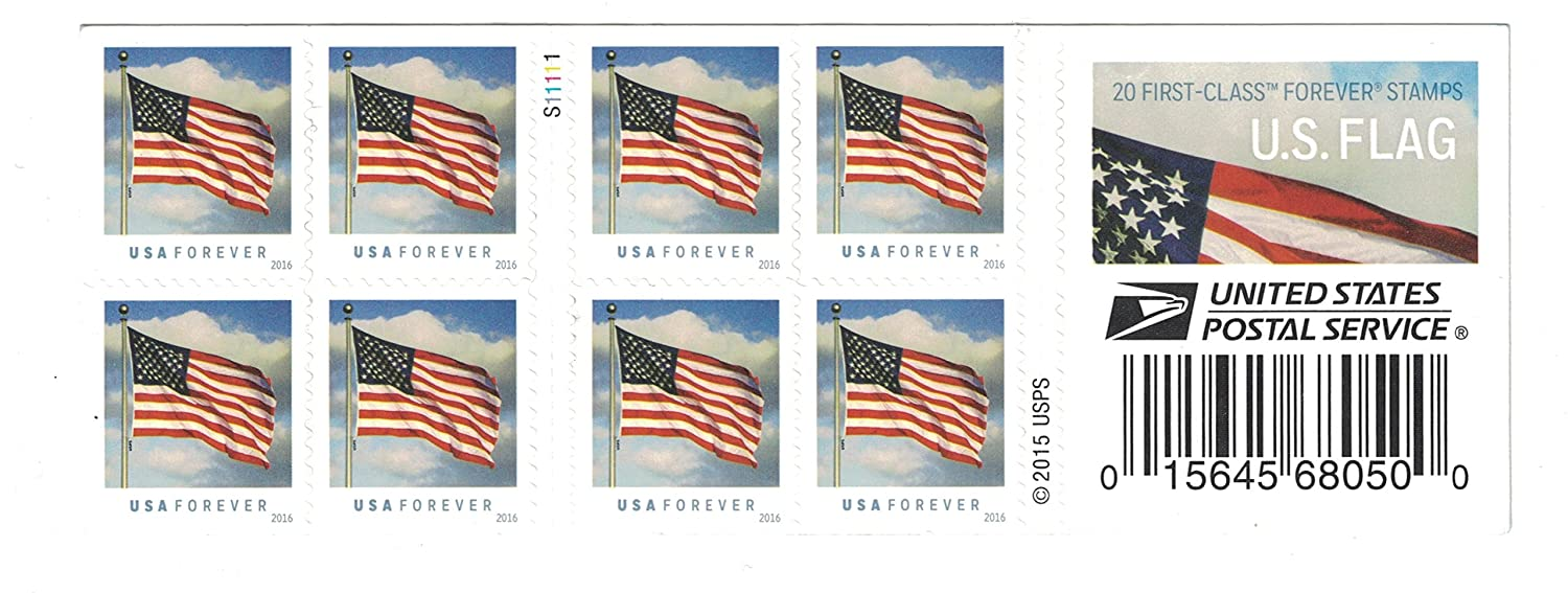 Amazoncom Usps Us Flag 2016 Forever Stamps Book Of 20 Toys Games - United-states-forever-stamps