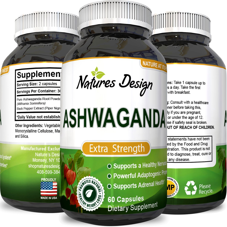 Ashwagandha Root Powder - Natural Supplement Pills For Sleep & Relaxation Reduce Stress Increase Immune System - Ashwagandha Indian Ginseng Withania Somnifera - For Men and Women by Nature Design