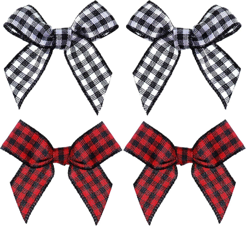 Black, Big Size 25PCS Gift DIY Craft Wedding Decoration Ornament VIVIQUEN Gingham Craft Ribbon Bows Mini Checkered Ribbon Flowers Appliques for Sewing