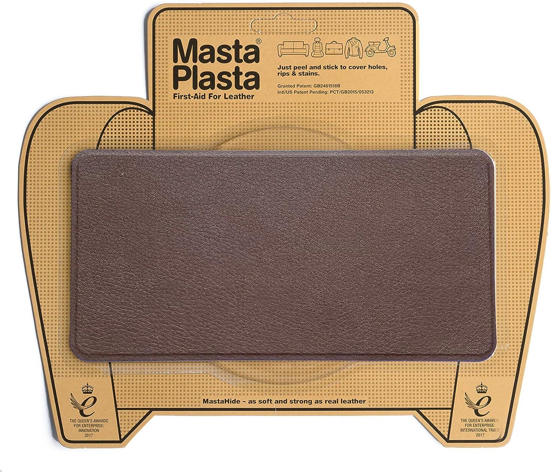 MastaPlasta - Parches Premium AUTOADHESIVOS para reparación de Cuero y Otros Tejidos. MARRÓN Medio. Elije el tamaño y el diseño. Primeros Auxilios para sofás, Asientos de Coche, Bolsos, Chaquetas